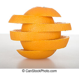Orange slices - Picture of an orange in slices over a table