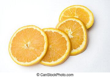 orange slices - 4 orange slices on a white background