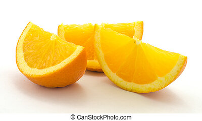 Orange slices, three, isolated on white background