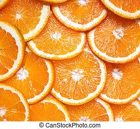 Orange slices top view.