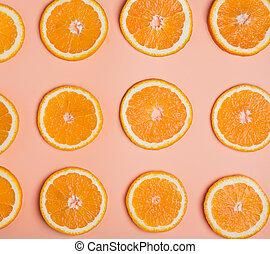 Orange slices top view