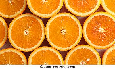 orange slices, top view
