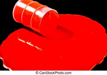 Orange slime spills out of barrel