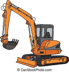Orange small excavator - Hand drawing of an orange small...