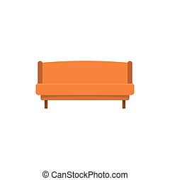 Orange small sofa icon, flat style
