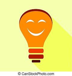 Orange smiling light bulb with eyes icon