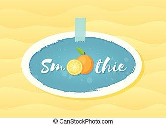 Orange smoothie fruit cocktail sticker vector logo