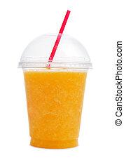 Orange smoothie in plastic cup