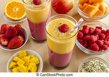 orange, smoothies fraise, mangue, framboise