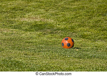Orange Soccer Ball on Green Grass