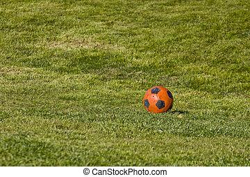 Orange Soccer Ball on Green Grass