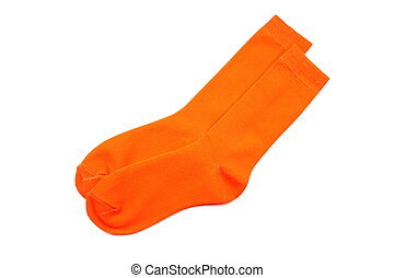 orange socks isolated on white background