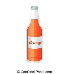 orange soda bottle glass icon vector graphic - orange soda...