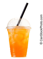 orange soda with ice in takeaway cup isolated on white...