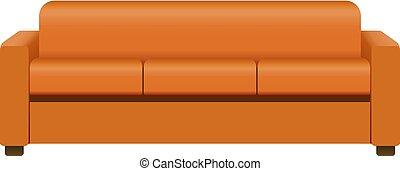 Orange soft sofa mockup, realistic style - Orange soft sofa...