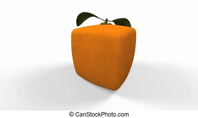 orange solo - 3D video of a cubic orange turning around, ,...