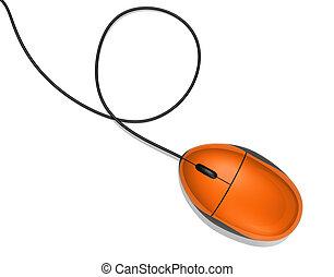 orange, souris ordinateur