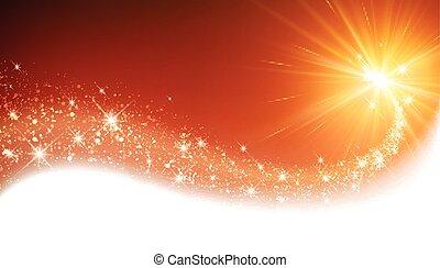 Orange sparkling card. - Orange sparkling card with petard. ...