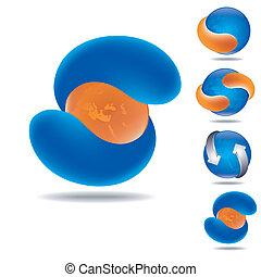 orange sphere icon - set of four icona as orange and blue...