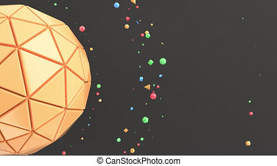 Orange sphere on the black surface