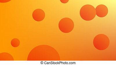 Orange spheres floating against yellow background