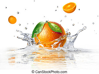 orange splashing into clear water and two other half faling,...