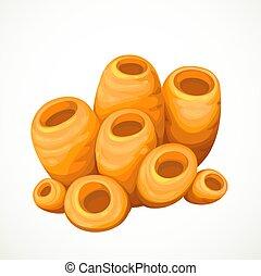 Orange sponges sea life object isolated on white background
