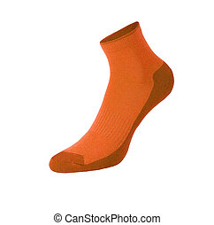 orange sport socks isolated on white background
