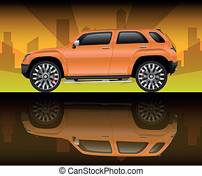 Orange sports utility vehicle