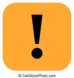 Orange square exclamation mark icon warning sign