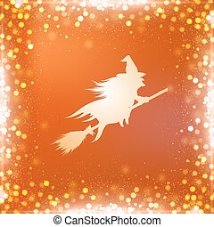 Orange square Halloween background with flying witch and bokeh border