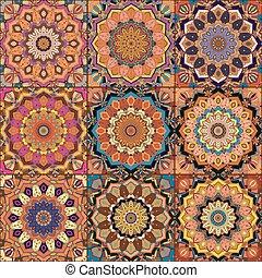 Orange Square Tile Boho Pattern. Elaborate patchwork from...