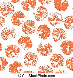 Orange stamp seamless background. Orange juice pattern with stamp of orange silhouettes