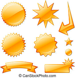 orange star burst designs Original Vector Illustration Design elements collection on white background