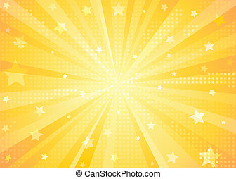 An orange vector abstract background with star and starburst effect. Gradients only (no transparencies).
