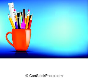 Orange stationary mug with pen pencil eraser marker on dark background for back to school concept vector illustration eps10