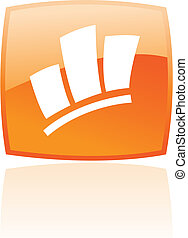 Orange stats - Glossy stats in orange button isolated on...