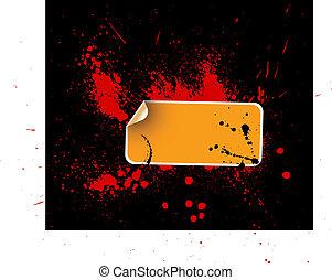 Orange sticker on a grunge background