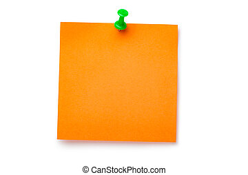 Orange sticker on green thumbtack. Isolated on white.
