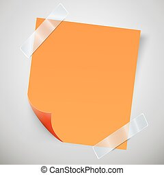 Orange sticky note with the curled corner and adhesive tape.