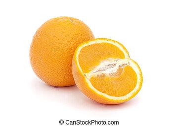 orange and cut orange isolated on a white background