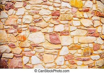 Orange stone wall pattern