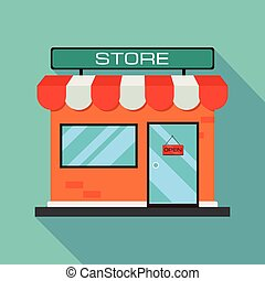 orange store icon. Shop icon with flat shadow on a blue background. Flat design. Vector illustration