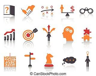 orange, stratégie, ensemble, icones affaires