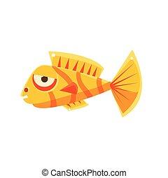 Orange Stripy Phlegmatic Fantastic Aquarium Tropical Fish Cartoon Character