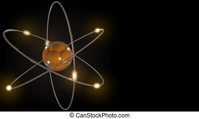 Orange stylized atom and electron orbits. Scientific motion background with free space for inscriptions. Nuclear, physics, atomic, science concepts. 4K seamless loop animation