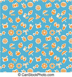Orange summer items icon with white outline vector pattern on blue background
