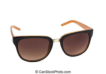 Orange sun glasses on white background