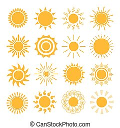 Orange Sun icons. The sun sets straight, florid and twisted ...