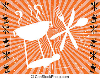 Illustration of abstract bright silhouette bbq eating textured grungy background